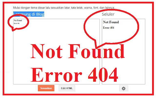 Not Found Error 404 di Dasbor Template Blog