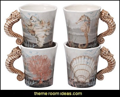 seahorse mugs coastal kitchen decor - beach house kitchen - Coastal kitchen & dining - coastal Christmas kitchen decorations - Cottage Holiday decor - seafood fish shaped kitchen decor - nautical kitchen accessories - Sea Shells cutlery