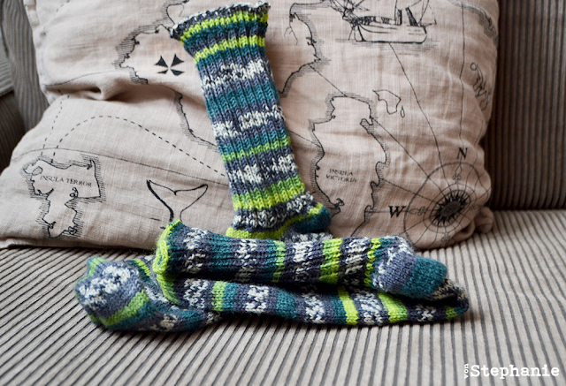 Socken | grn-gestreift | vonStephanie.at