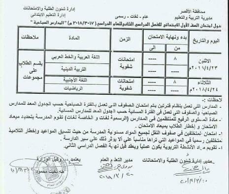 جدول امتحانات الصف الأول الابتدائي 2018 اخر العام محافظة الاقصر