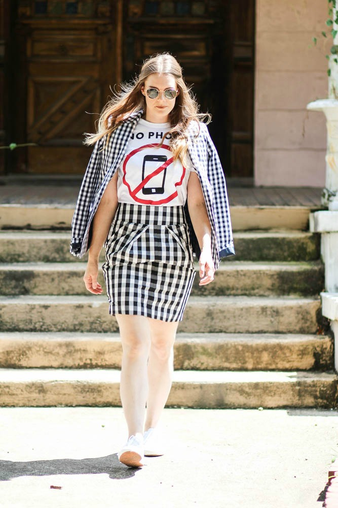 Gingham skirt and blazer