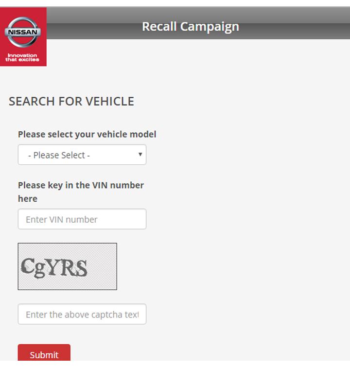 Semak online ganti beg udara kenderaan Nissan