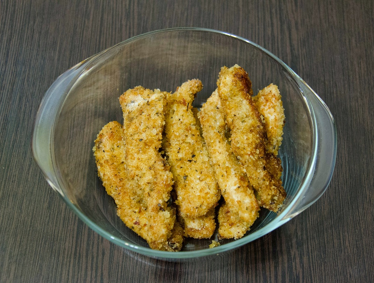 Chicken strips in a bowl