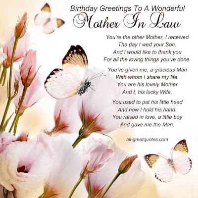 Happy birthday wishes for mother-in-law: you're the other mother i received