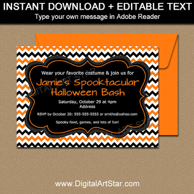 printable orange and black halloween invite with editable text