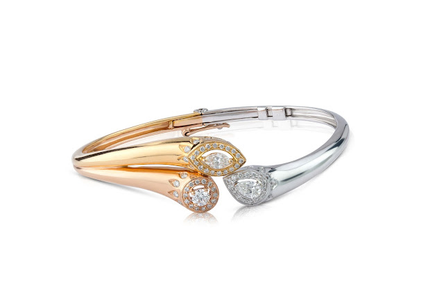Forevermark Multi Diamond Shape Bangle set in 18k White, Yellow and Rose Gold