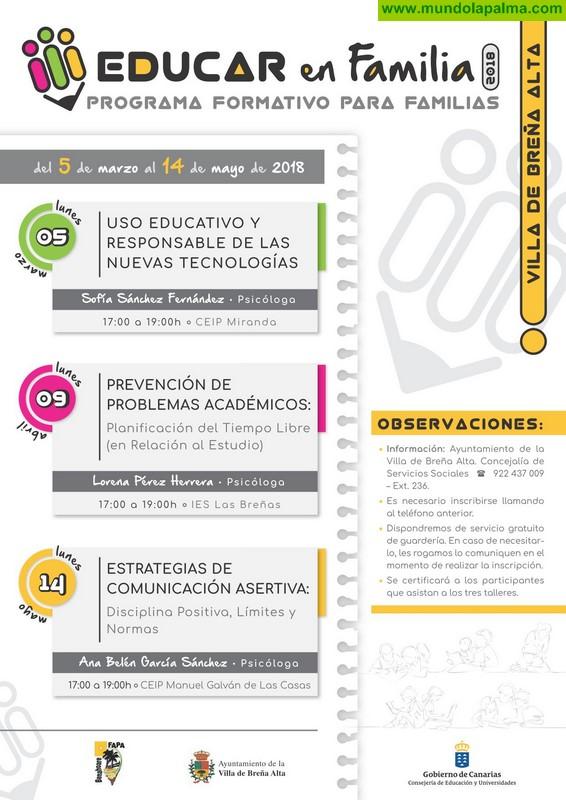Breña Alta ofrece un programa formativo para padres y madres