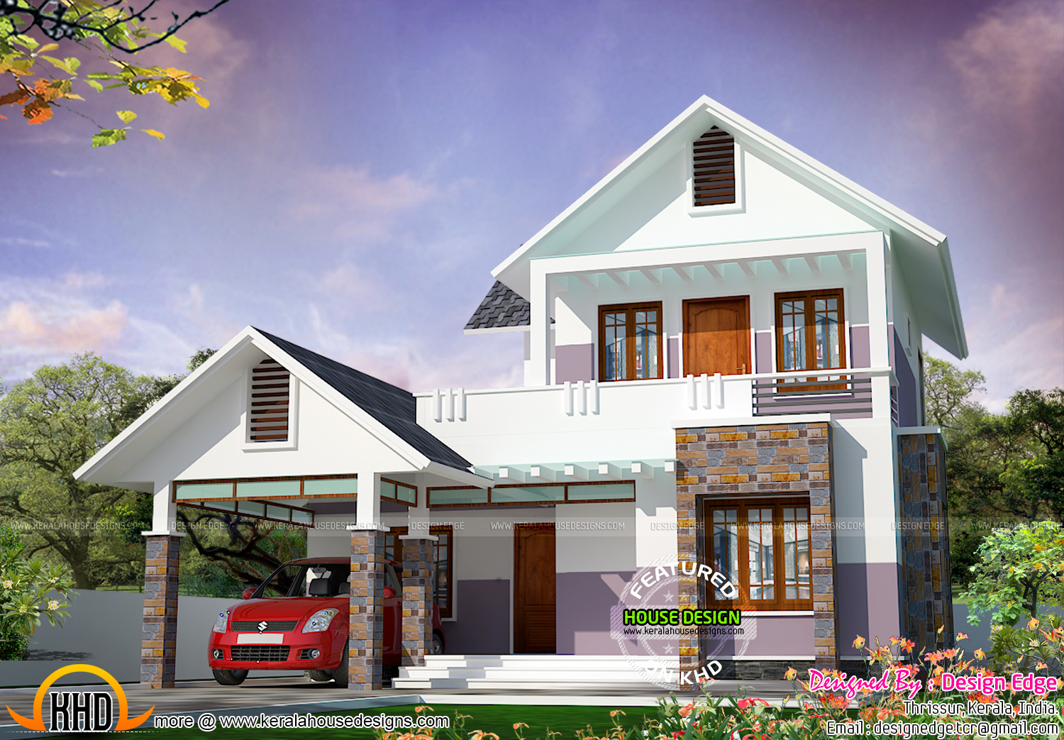 Simple modern house in 1700 sq ft kerala home design and for Homeplan designs