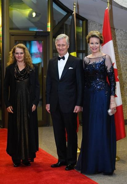Belgium Concert held by Embassy of Belgium in Canada in honour of Governor General Julie Payette. Queen Mathilde wore a navy blue Armani dress