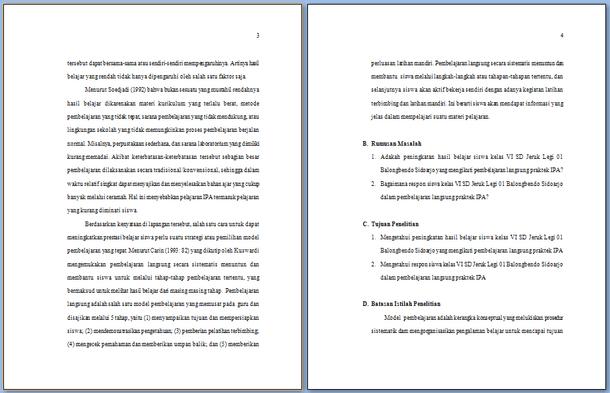 Contoh Karya Tulis Ilmiah Guru Kelas SD SMP SMA SMK Format Microsoft Word