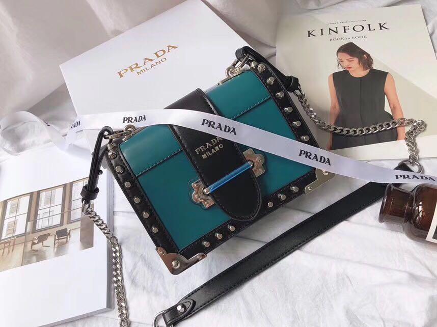 81e223f445a8 PRADA Handbag Cahier Leather Shoulder Studded Chain Sling Bag