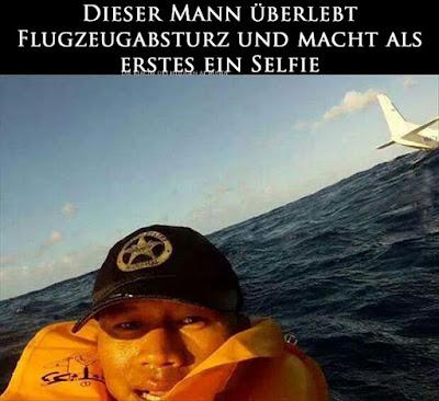 Witziges Bild - Mann überlebt Flugzeugabsturz und macht Selfie von sich