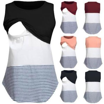 Women's Sleeveless Striped Nursing Blouse