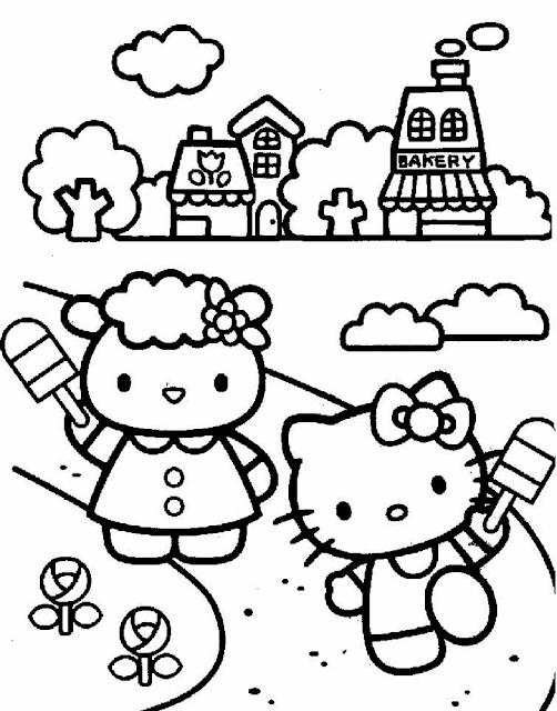 Gambar Mewarnai Hello Kitty - 10