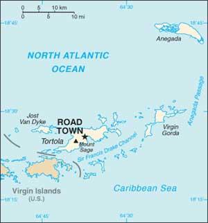 Mapa das Ilhas Virgens Britânicas