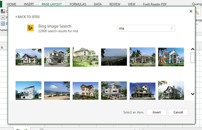 Tìm ảnh từ bing search trong excel