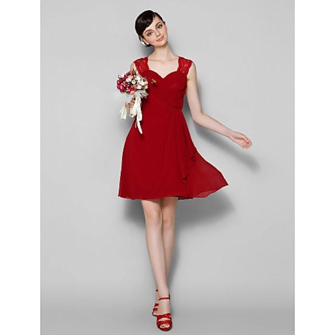 Short/Mini Chiffon / Lace Bridesmaid Dress - Burgundy Plus Sizes / Petite A-line Jewel