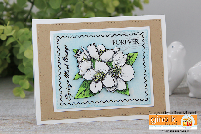Forever Stamp Card by Juliana Michaels featuring Gina K Designs Stately Flowers 11 Stamp Set by Melanie Muenchinger