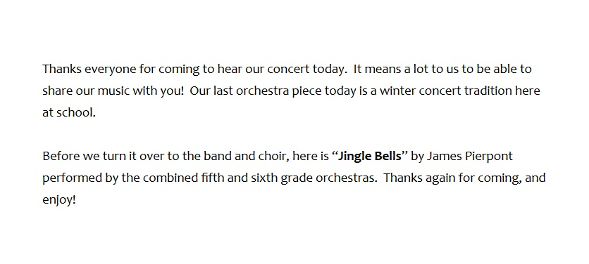 Teaching Elementary Orchestra Winter Concert Programming