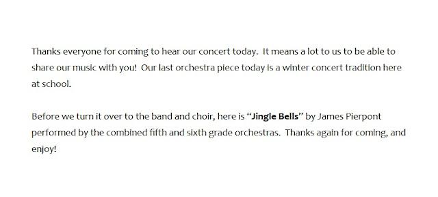Winter concert programming ideas speaking part