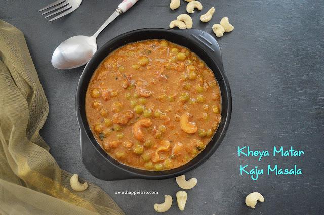 Khoya Matar Kaju Masala Recipe | Restaurant Style Green Peas Cashew Gravy