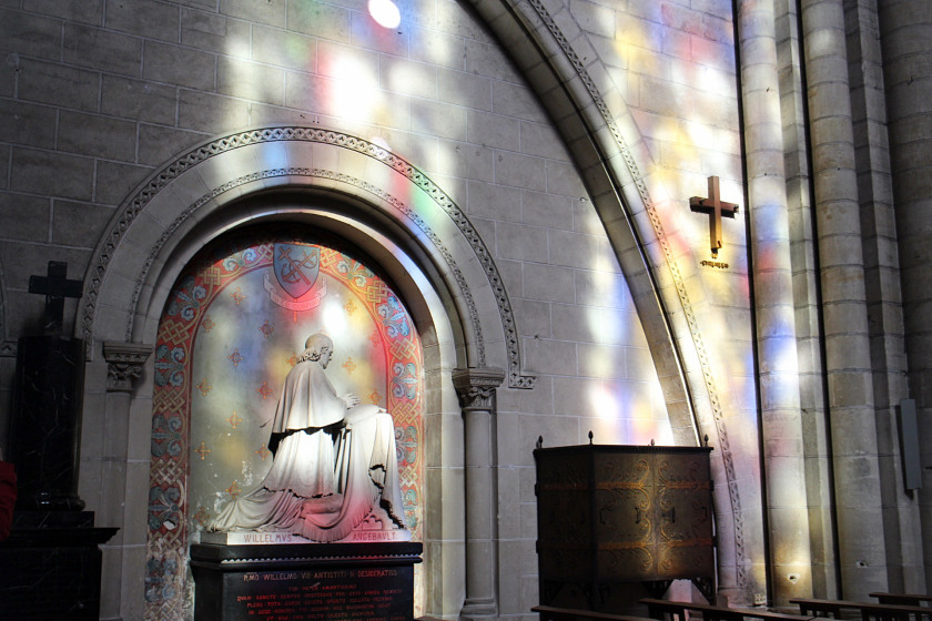 Stained glass window reflections in Loire Valley, France