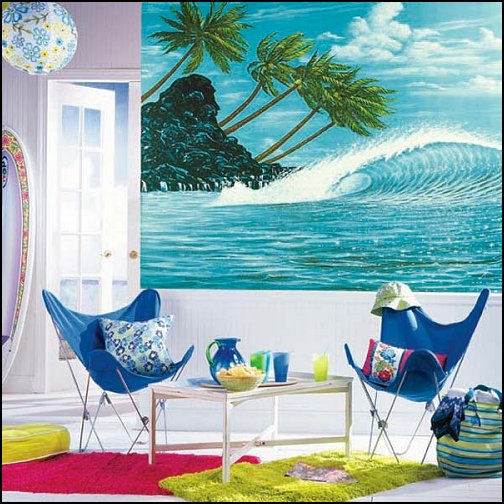 surfing bedroom - beach surf themed bedroom ideas - surfer girl themed bedrooms - surf decor for bedroom  - beach theme bedrooms - surfer girls - girls surfing themed bedroom ideas - surfer boys - surfing themed bedroom decorating ideas - beach bedrooms - raffia valance window ideas - 3d wall decorations - surfing decor - surfer girls surfing bedrooms surf bedding -  coastal living style -