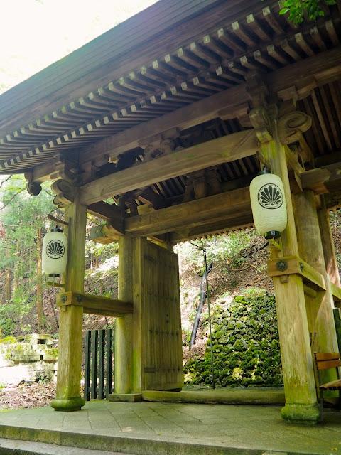 Wooden gate on the hiking path from Kurama to Kibune, Kyoto, Japan