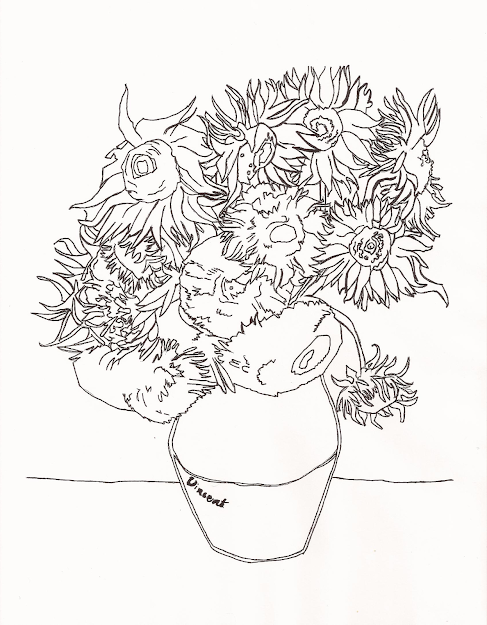 Van Gogh Sunflowers Colouring Pages