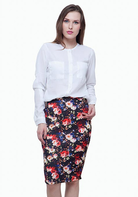 SCUBA PENCIL SKIRT - DARK FLORAL  INR-1400
