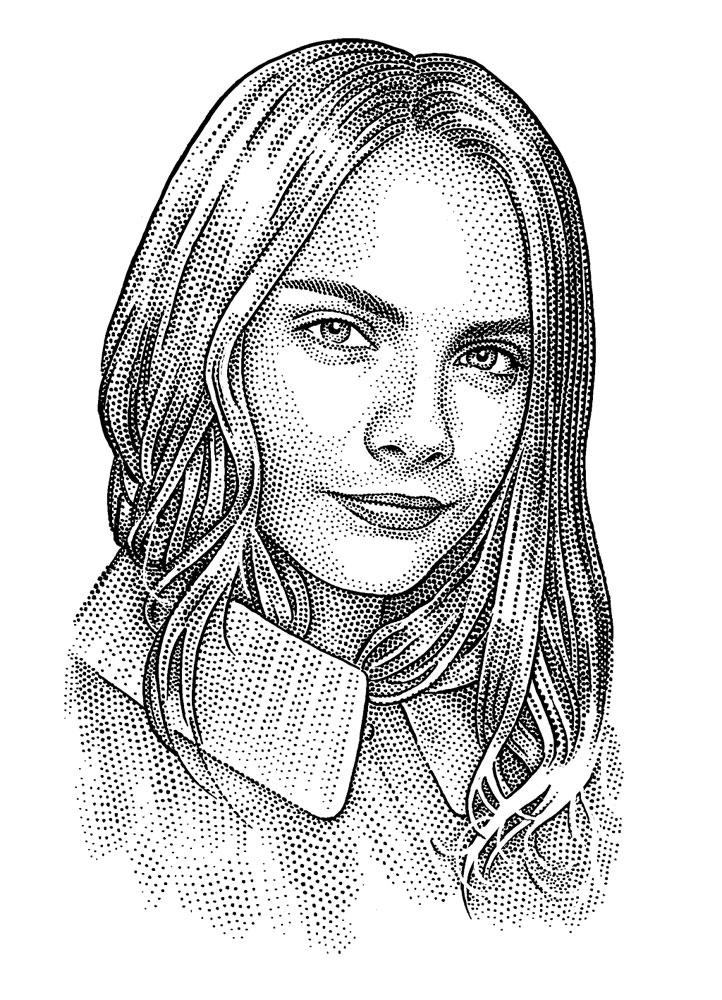 Cara Delevingne hedcut portrait