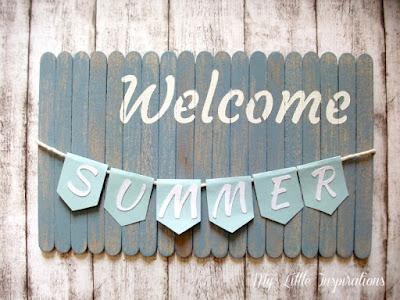Insegna Coastal con stecchi gelato, bandierine, scritta Welcome Summer - MLI