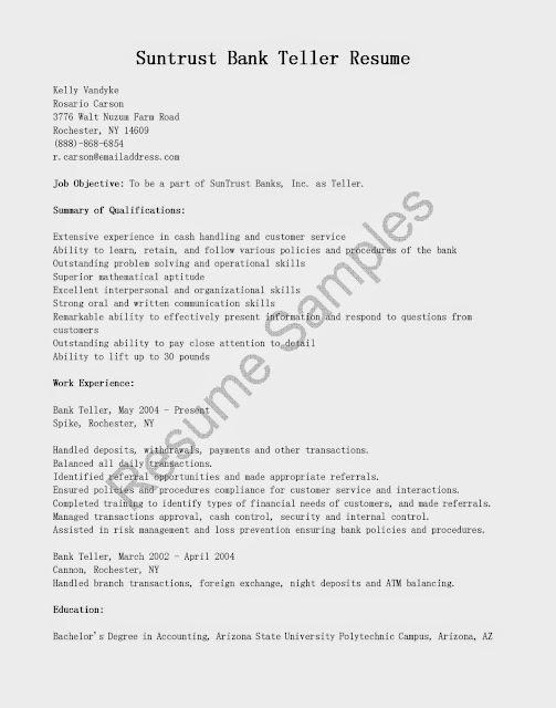 Great Sample Resume Resume Samples Suntrust Bank Teller Resume