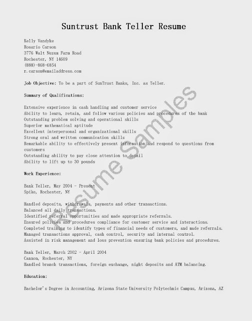 Great Sample Resume Resume Samples Suntrust Bank Teller Resume