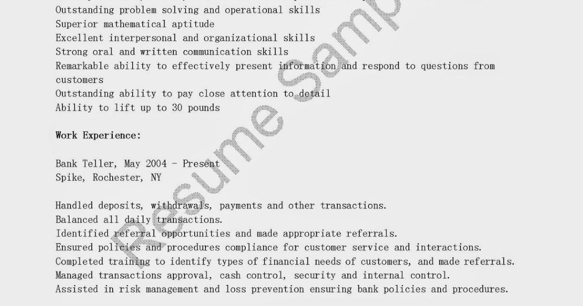 Resume Samples Suntrust Bank Teller Resume