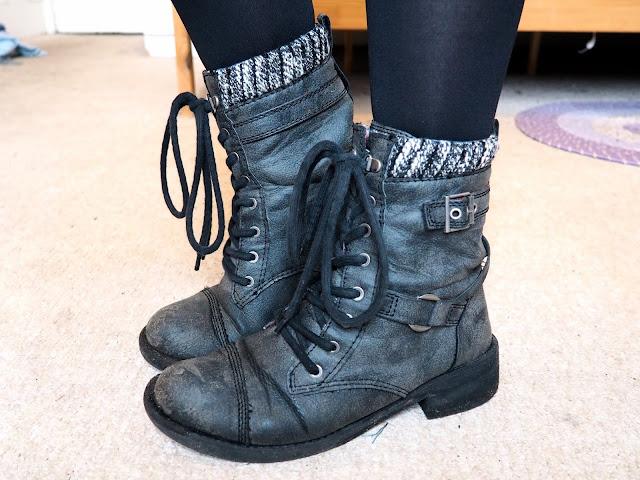 Princess Leia Star Wars Disneybound outfit shoe details of black / dark grey lace up biker boots