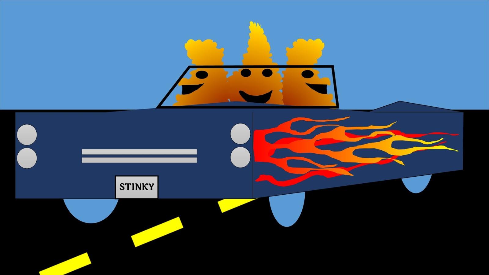Three Stinks in their car