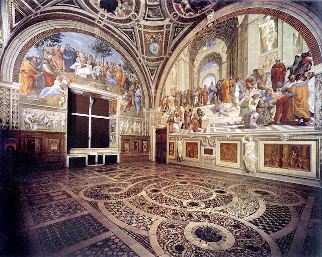 Fresco, The Stanza della segnatura in the Vatican Palace by Rahael, High Renaissance