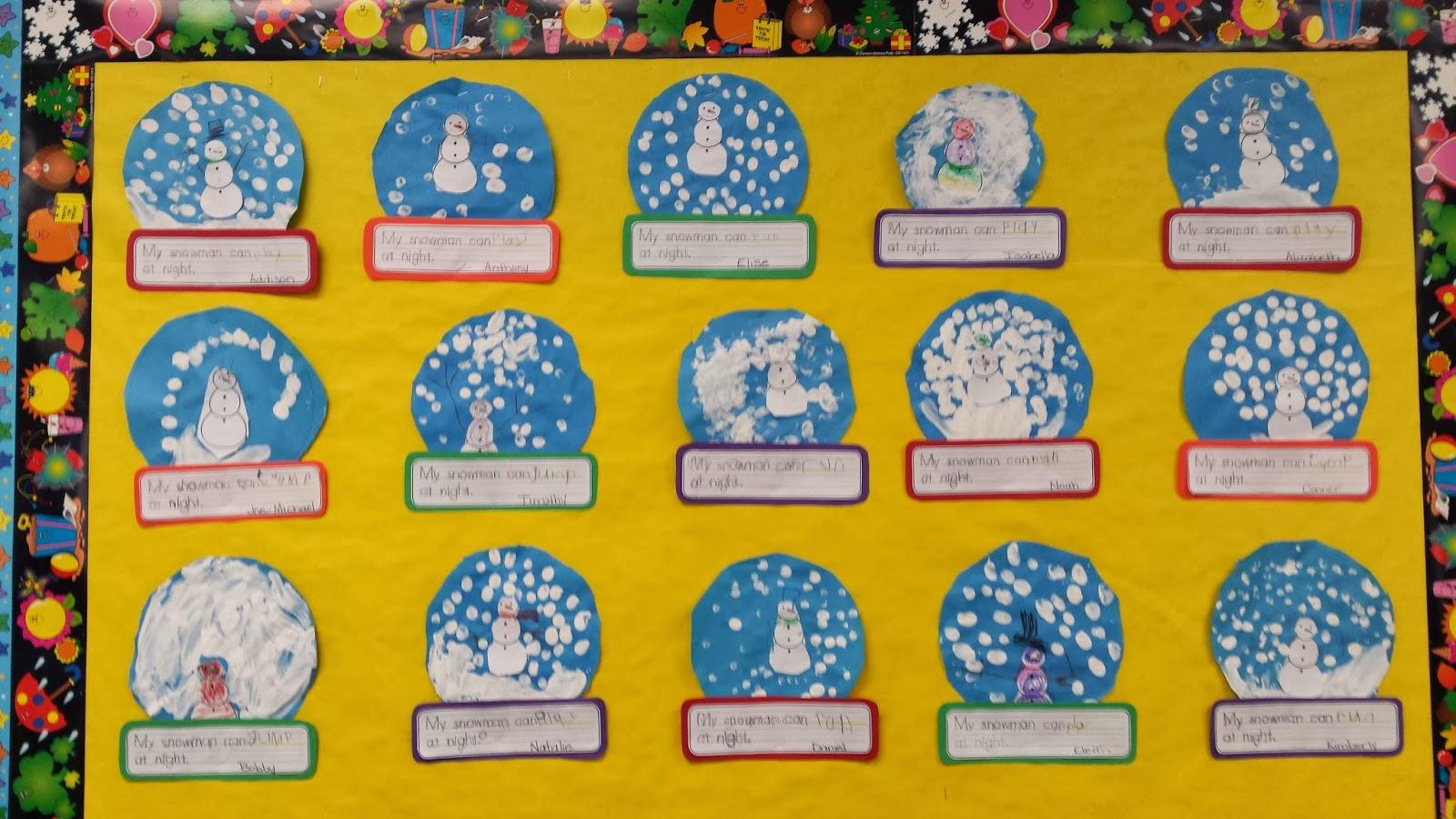 Colors And Kindergarten Snowmen At Night