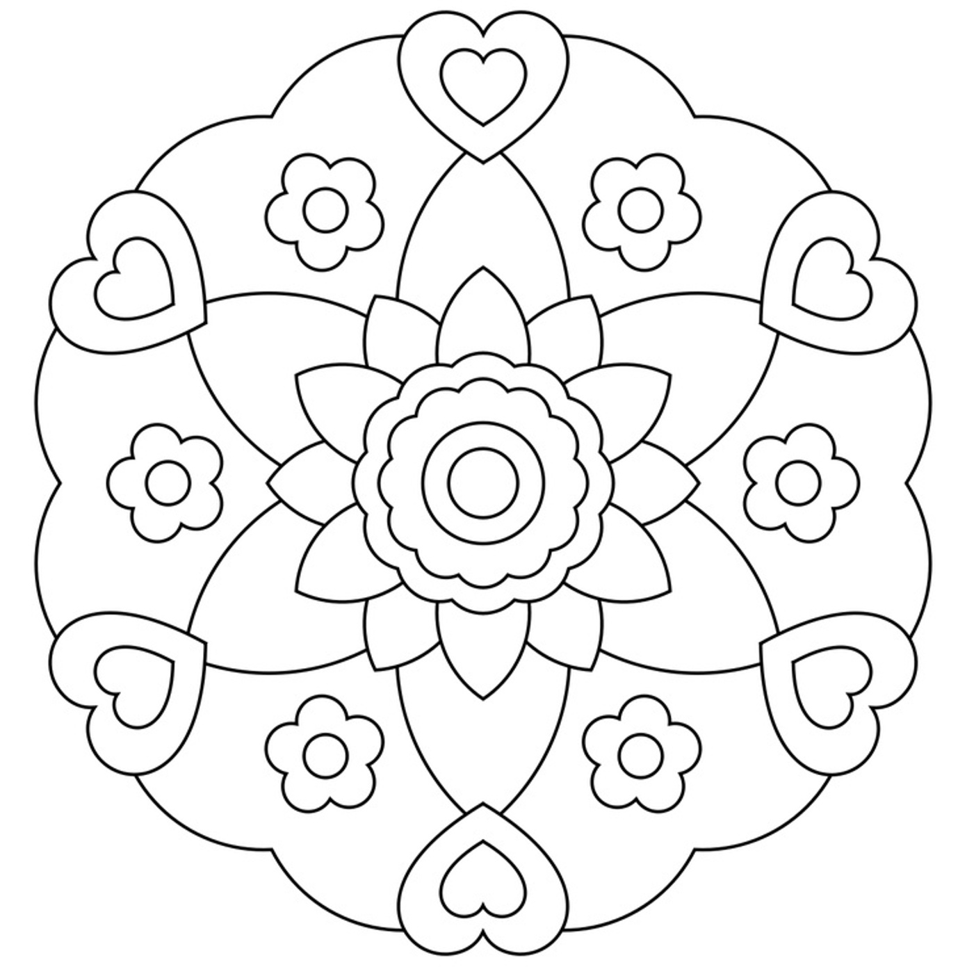 Best Free Easy Flower Mandala Designs Coloring Pages ...