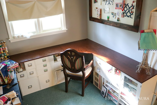 One Room Challenge Week 6 Home Office Sewing Craft Room Transformation DIY corner desk