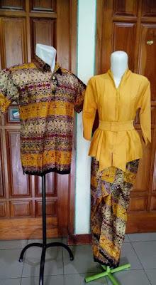 Model Baju Batik Sarimbit Lebaran Terbaru Oranye