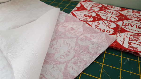 prepping napkins for decoupage