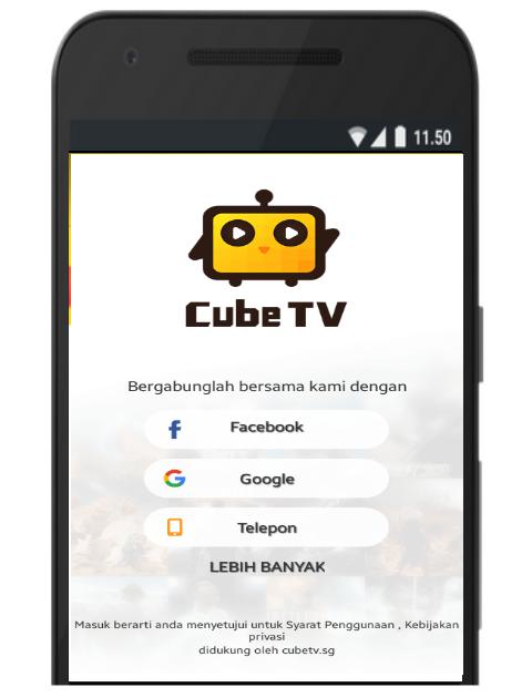 Pendaftaran Cube TV di Smartphone