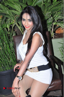 Actress Model Pooja Sri Stills in White Short Dress at F Club pre soft Launch  0104.JPG