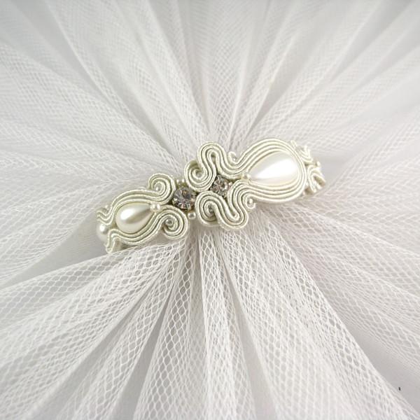 Bransoletka sutasz ivory z perłami i cyrkoniami.