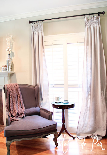 Living room and drop cloth curtains- Maison de Pax