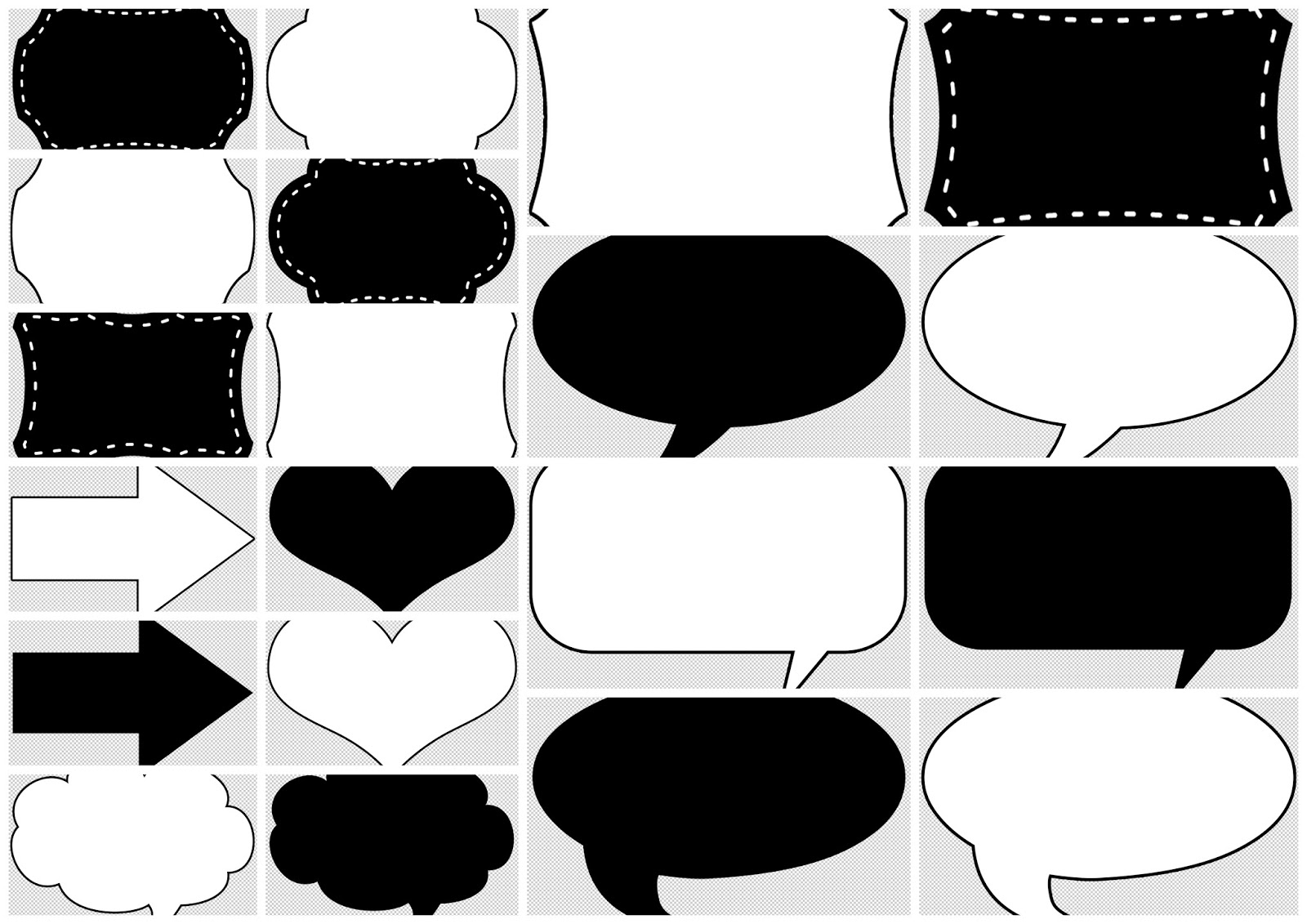 free printable toppers, tags or labels in black and white for your