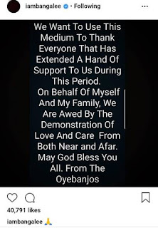 D'Banj thanks everyone who sympathized with him on his son's death