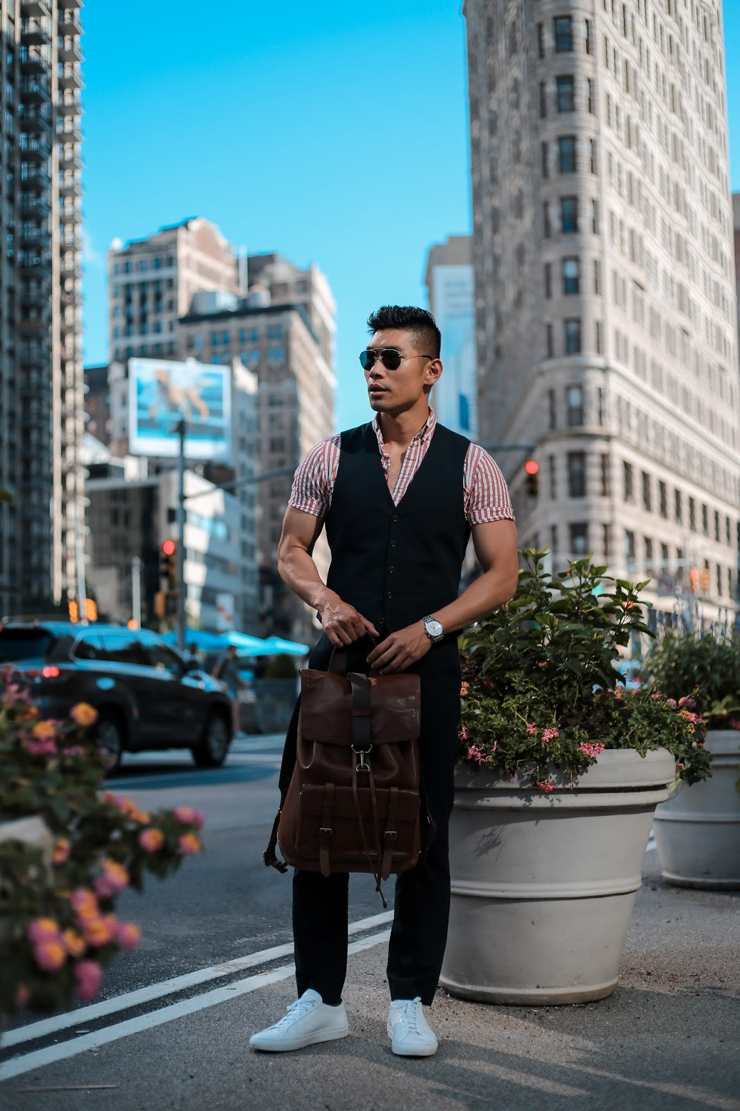 Men's Summer Style, Seersucker, Prada Teddy Sunglasses, Common Project Sneakers, Coach Backpack, Menswear Levitate Style, Leo Chan